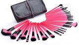 Set van 32 make-up kwasten roze/zwart_