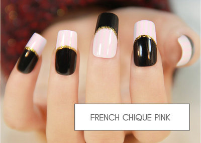 kunstnagels french chique pink