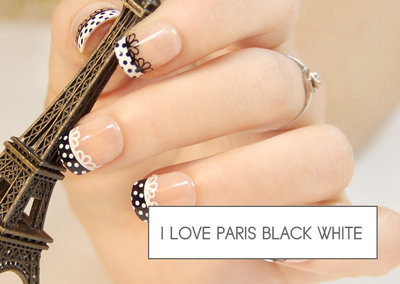 kunstnagels I love Paris black white