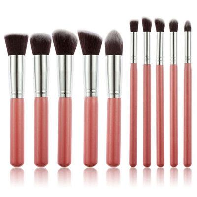 Set van 10 make-up kwasten kabuki roze zilver