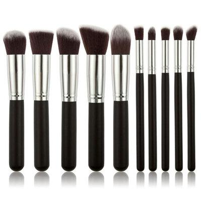 Set van 10 make-up kwasten kabuki zwart zilver