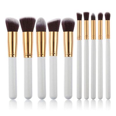 Set van 10 make-up kwasten kabuki wit goud
