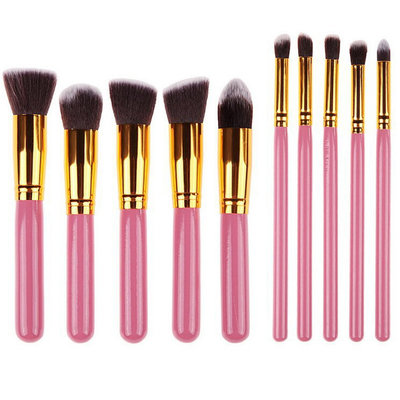 Set van 10 make-up kwasten kabuki roze goud
