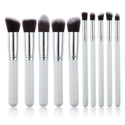 Set van 10 make-up kwasten kabuki wit zilver