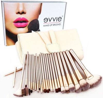 Set van 24 make-up kwasten beige goud
