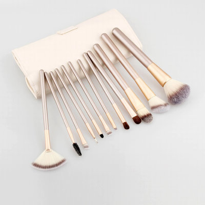 Set van 12 make-up kwasten beige goud