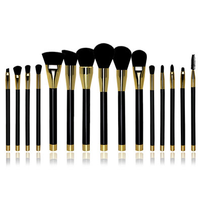 Set van 15 make-up kwastenset zwart/goud