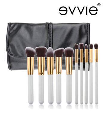 Set van 10 make-up kwasten kabuki wit/goud in hoes