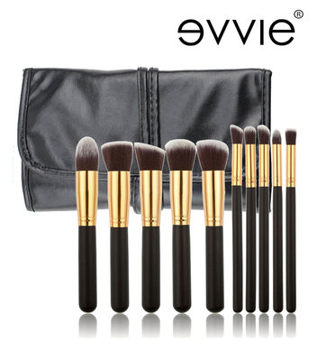 Set van 10 make-up kwasten kabuki zwart/goud in hoes