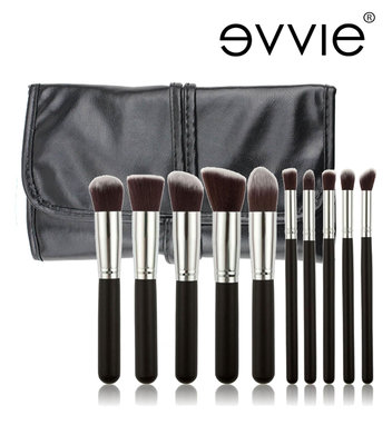 Set van 10 make-up kwasten kabuki zwart/zilver in hoes