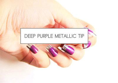 kunstnagels deep purple metalic tip