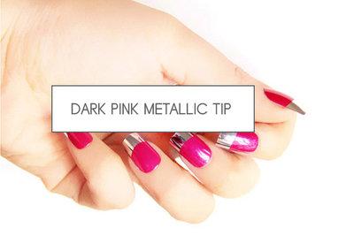 kunstnagels dark pink metalic tip
