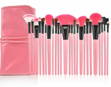 Set van 24 make-up kwasten roze