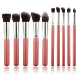 Set van 10 make-up kwasten kabuki roze zilver