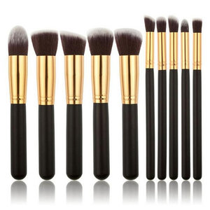 Set van 10 make-up kwasten kabuki zwart goud