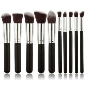 Set van 10 make-up kwasten kabuki zwart zilver