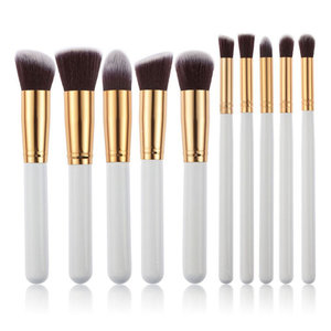 Set van 10 make-up kwasten kabuki wit goud