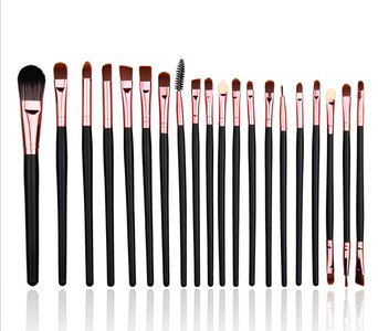 Set van 20 make-up kwasten voor oogschaduw, lippenstift, concealer en foundation