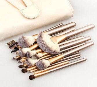 Set van 24 make-up kwasten beige goud